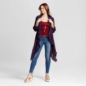 KNOX ROSE Plaid Draped Front Kimono Jacket XS NEW